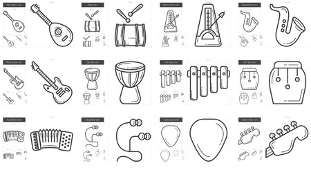 scalable: Music vector line icon set isolated on white background. Music line icon set for infographic, website or app. Scalable icon designed on a grid system.