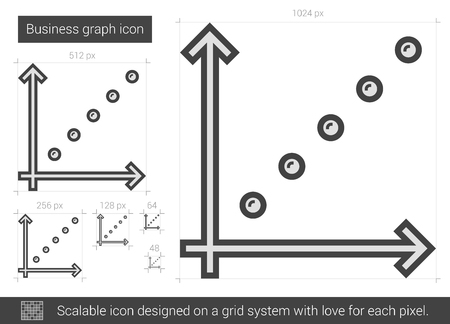 discontinuous: Business graph vector line icon isolated on white background. XXX line icon for infographic, website or app. Scalable icon designed on a grid system.