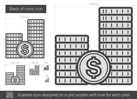 dime: Stack of coins vector line icon isolated on white background. Stack of coins line icon for infographic, website or app. Scalable icon designed on a grid system. Illustration