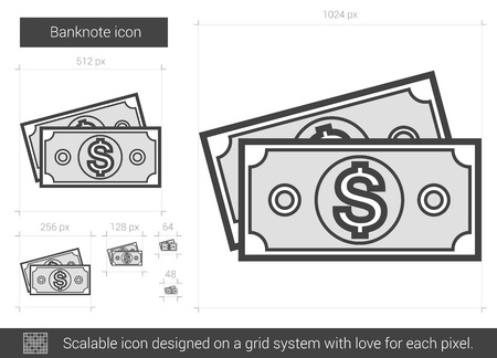 scalable: Banknote vector line icon isolated on white background. Banknote line icon for infographic, website or app. Scalable icon designed on a grid system.