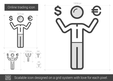 Online trading vector line icon isolated on white background. Online trading line icon for infographic, website or app. Scalable icon designed on a grid system. Ilustração