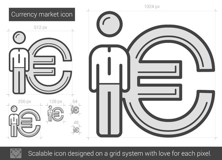 Currency market vector line icon isolated on white background. Currency market line icon for infographic, website or app. Scalable icon designed on a grid system. Illustration