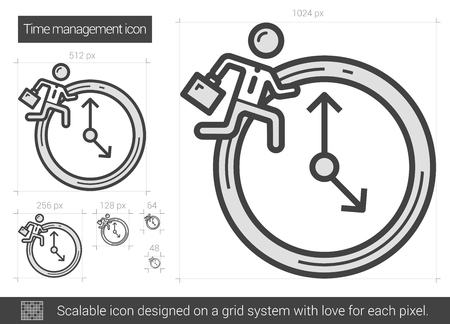 managment: Time managment vector line icon isolated on white background. Time managment line icon for infographic, website or app. Scalable icon designed on a grid system.