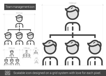 managment: Team managment vector line icon isolated on white background. Team managment line icon for infographic, website or app. Scalable icon designed on a grid system.