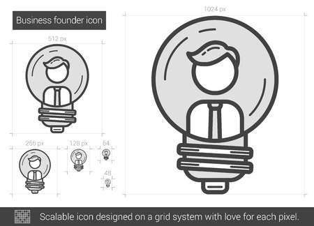 Business founder vector line icon isolated on white background. Business founder line icon for infographic, website or app. Scalable icon designed on a grid system. Illustration