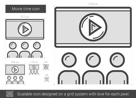 Movie time vector line icon isolated on white background. Movie time line icon for infographic, website or app. Scalable icon designed on a grid system. Illusztráció