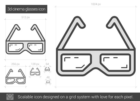 three d: Three d cinema glasses vector line icon isolated on white background. Three d cinema glasses line icon for infographic, website or app. Scalable icon designed on a grid system.
