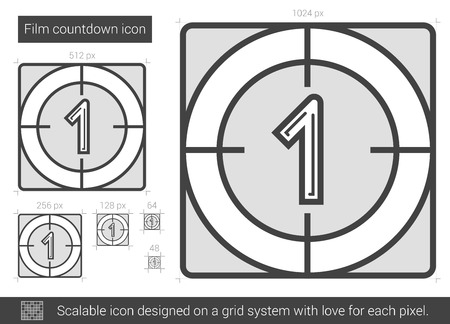 outmoded: Film countdown vector line icon isolated on white background. Film countdown line icon for infographic, website or app. Scalable icon designed on a grid system.