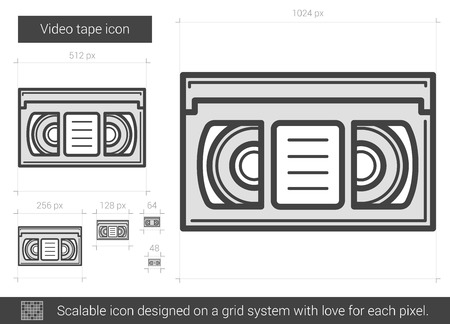 tape line: Video tape vector line icon isolated on white background. Video tape line icon for infographic, website or app. Scalable icon designed on a grid system. Illustration