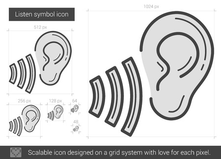 earing: Listen symbol vector line icon isolated on white background. Listen symbol line icon for infographic, website or app. Scalable icon designed on a grid system.