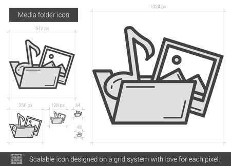 storage device: Media folder vector line icon isolated on white background. Media folder line icon for infographic, website or app. Scalable icon designed on a grid system.