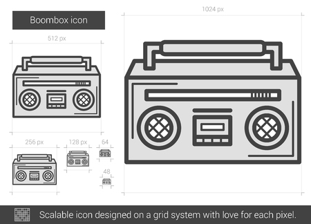 boombox: Boombox vector line icon isolated on white background. Boombox line icon for infographic, website or app. Scalable icon designed on a grid system.