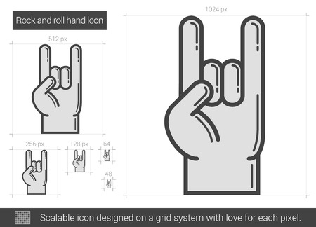 hand sign: Rock and roll hand vector line icon isolated on white background. Rock and roll hand line icon for infographic, website or app. Scalable icon designed on a grid system.