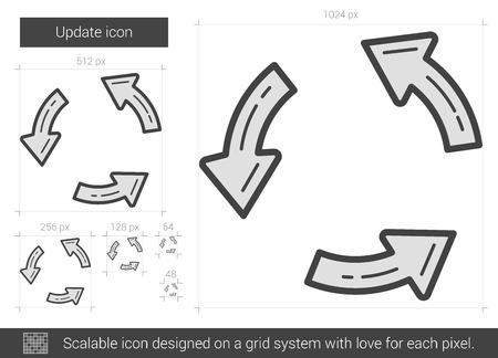 Mise à jour de vecteur icône de la ligne isolé sur fond blanc. Mise à jour de l'icône de ligne pour infographie, site Web ou application. icon Scalable conçu sur un système de grille. Banque d'images - 64346202