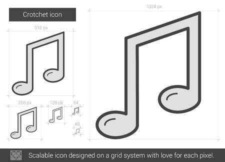 crotchets: Crotchet vector line icon isolated on white background. Crotchet line icon for infographic, website or app. Scalable icon designed on a grid system.
