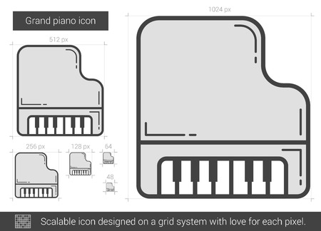 grand piano: Grand piano vector line icon isolated on white background. Grand piano line icon for infographic, website or app. Scalable icon designed on a grid system. Illustration