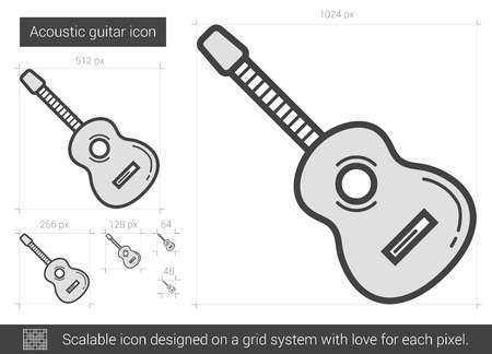 strum: Acoustic guitar vector line icon isolated on white background. Acoustic guitar line icon for infographic, website or app. Scalable icon designed on a grid system. Illustration