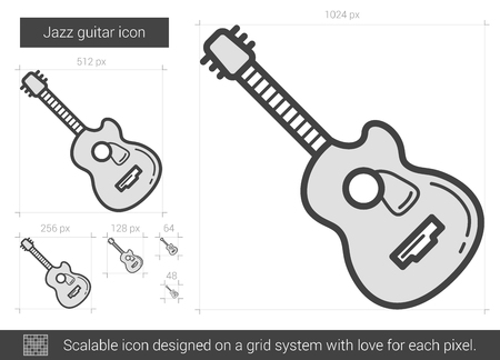 strum: Jazz guitar vector line icon isolated on white background. Jazz guitar line icon for infographic, website or app. Scalable icon designed on a grid system.