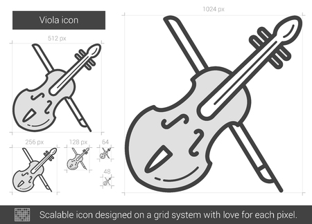 fiddlestick: Viola vector line icon isolated on white background. Viola line icon for infographic, website or app. Scalable icon designed on a grid system.