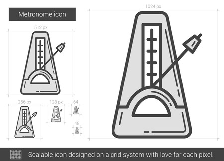 Metronome vector line icon isolated on white background. Metronome line icon for infographic, website or app. Scalable icon designed on a grid system. Çizim