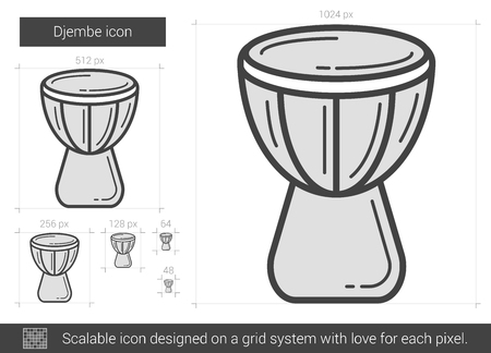 Djembe vector line icon isolated on white background. Djembe line icon for infographic, website or app. Scalable icon designed on a grid system. Illusztráció