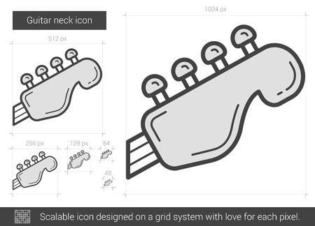 strum: Guitar neck vector line icon isolated on white background. Guitar neck line icon for infographic, website or app. Scalable icon designed on a grid system.