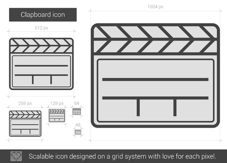 flick: Clapboard vector line icon isolated on white background. Clapboard line icon for infographic, website or app. Scalable icon designed on a grid system. Illustration