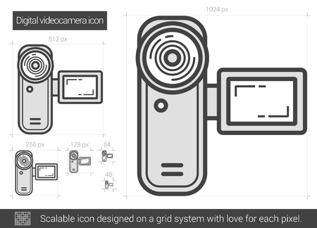 Digital videocamera vector line icon isolated on white background. Digital videocamera line icon for infographic, website or app. Scalable icon designed on a grid system. Vectores