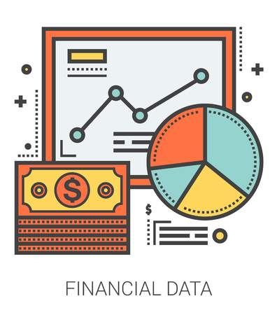 financial metaphor: Financial data infographic metaphor with line icons. Project financial data concept for website and infographics. Vector line art icon isolated on white background.