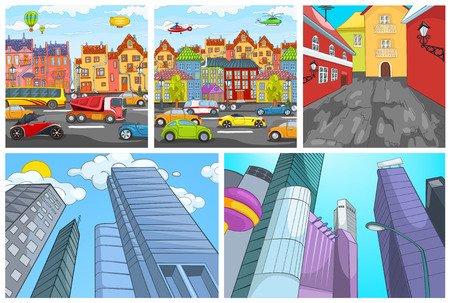 urban district: Hand drawn cartoon set of urban architecture. Colourful cartoons of city backgrounds. Cartoon backgrounds of modern cities with skyscrapers. Vector cartoon set with modern cityscapes. Cartoon of residential district. Illustration