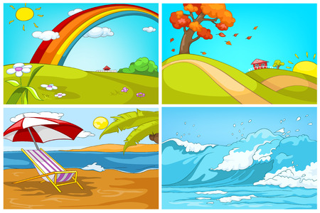 Hand drawn vector cartoon set of landscapes. Colourful cartoons of summer, autumn, resort, ocean backgrounds. Background of beach resort. Cartoon of hilly countryside in autumn. Cartoon of seascape.