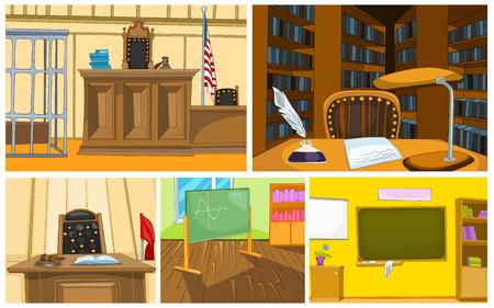 Hand gezeichnet Vektor Cartoon Satz von Gericht und Schulzimmer Interieur. Bunte Cartoons von Gericht und Schulzimmer Hintergründe. Hintergrund der Gerichtssaal Interieur. Hintergrund der Klassenzimmer und Bibliothek Interieur Standard-Bild - 64353098