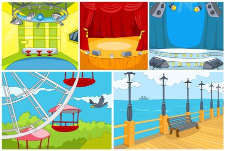 Hand drawn vector cartoon set of backgrounds. Cartoon of theater interior. Colourful cartoon of background of amusement park. Cartoon of embankment. Background of nightclub interior. Vettoriali