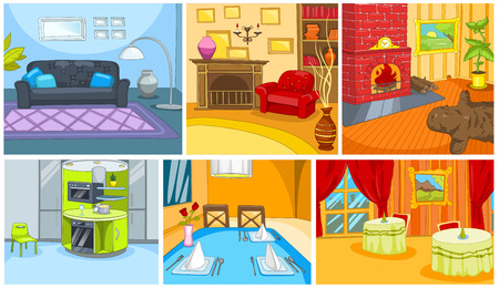 Hand drawn vector cartoon set of apartment and restaurant interiors. Colourful cartoons of home and restaurant backgrounds. Cartoon of interior of living room. Cartoon background of restaurant.