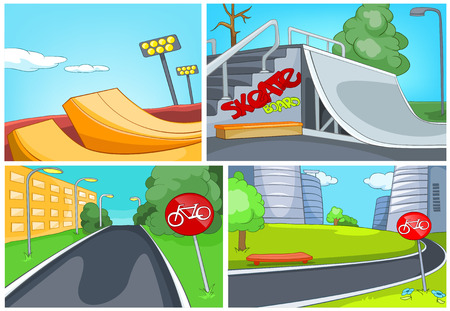 ramp: Hand drawn vector cartoon set of sport city infrastructure. Colourful cartoons of skatepark and bicycle lane backgrounds. Background of bike lane in the city. Background of playground for skateboard.