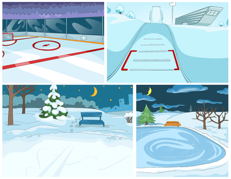 skating rink: Hand drawn vector cartoon set of infrastructure for winter sports and winter landscapes. Cartoons of winter backgrounds. Background of winter park. Cartoon of ice skating rink and ski springboard.