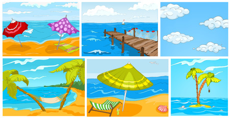 Hand drawn cartoon set of summer landscapes. Colourful cartoons of summer backgrounds. Vector cartoon set with tropical island with beach umbrella, hammock, blue sky with clouds, seashore with pier.