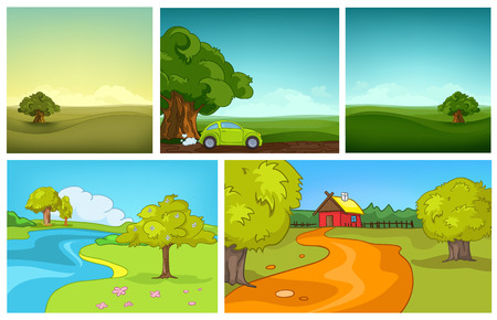 vector image: Hand drawn vector cartoon set of summer landscapes. Colourful cartoons of summer backgrounds. Cartoon background of field. Cartoon background of countryside with house. Cartoon background of meadow. Illustration