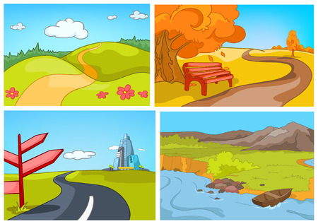 rural road: Hand drawn vector cartoon set of summer and autumn landscapes. Colourful cartoons of summer and autumn backgrounds. Background of autumn park. Background of countryside. Background of mountain river.
