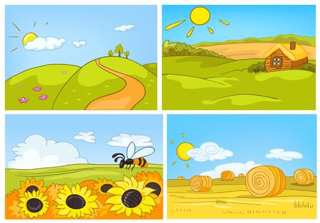 Hand drawn cartoon set of summer landscapes. Colourful cartoons of summer backgrounds. Vector cartoon set of landscapes of countryside. Background of field with sunflower. Background of field with hay