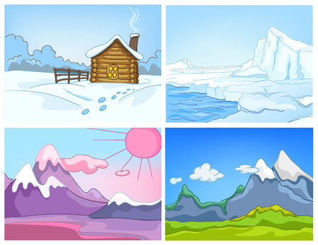 Hand drawn vector cartoon set of winter landscapes. Colourful cartoons of winter backgrounds. Vector cartoon set of landscapes of countryside. Cartoon background of glacier and snowy mountains.