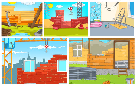 heavy construction: Hand drawn vector cartoon set of construction site. Colourful cartoons of backgrounds of construction sites. Cartoon background of building urban and rural houses. Background of apartment renovation.
