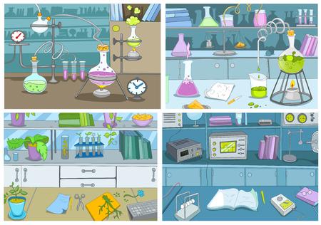 손으로 그려진 된 만화 장비를 측정와 화학 실험실의 집합입니다. 비 커, 테스트 튜브와 화학 실험실의 배경의 다채로운 만화. 벡터 만화 화학 실험실