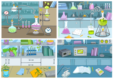 Hand drawn cartoon set of chemical laboratory with measuring equipment. Colourful cartoons of backgrounds of chemical laboratory with beaker, test tubes. Vector cartoon set of chemical laboratory.
