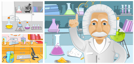 laboratory equipment: Hand drawn cartoon set of chemical laboratory. Colourful cartoons of backgrounds of chemical laboratory. Vector cartoon set with chemical laboratory with measuring equipment, test tubes, scientist.