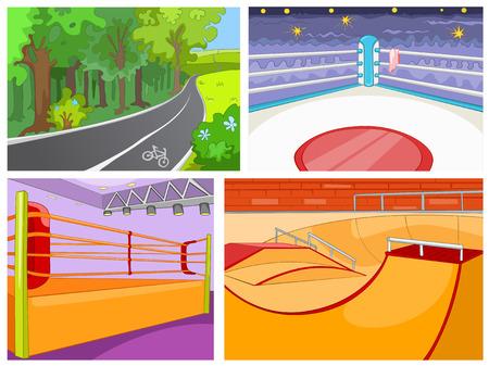 skateboard park: Hand drawn vector cartoon set of sport infrastructure. Cartoon background of playground for skateboard. Cartoon background of boxing ring. Cartoon background of bicycle lane in the park. Illustration
