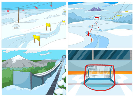 slopes: Hand drawn vector cartoon set of sport infrastructure. Cartoon background of ice skating rink. Cartoon background of mountains with ski slopes and ski lifts. Cartoon background of ski springboard.