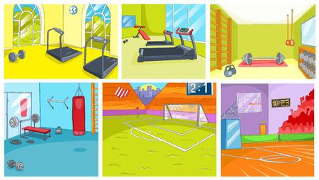 Hand drawn cartoon set of sport infrastructure. Cartoons of gym and sport stadium backgrounds. Vector cartoon set of fitness center interiors. Backgrounds of basketball court and football stadium.