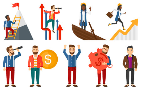 Young businessman searching for opportunities. Businessman using spyglass for searching of opportunities. Business opportunities concept. Set of vector illustrations isolated on white background.  イラスト・ベクター素材