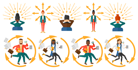 overload: Business people coping with multitasking. Businessman having skills of multitasking. Businessman doing multiple tasks. Multitasking concept. Set of vector illustrations isolated on white background. Illustration